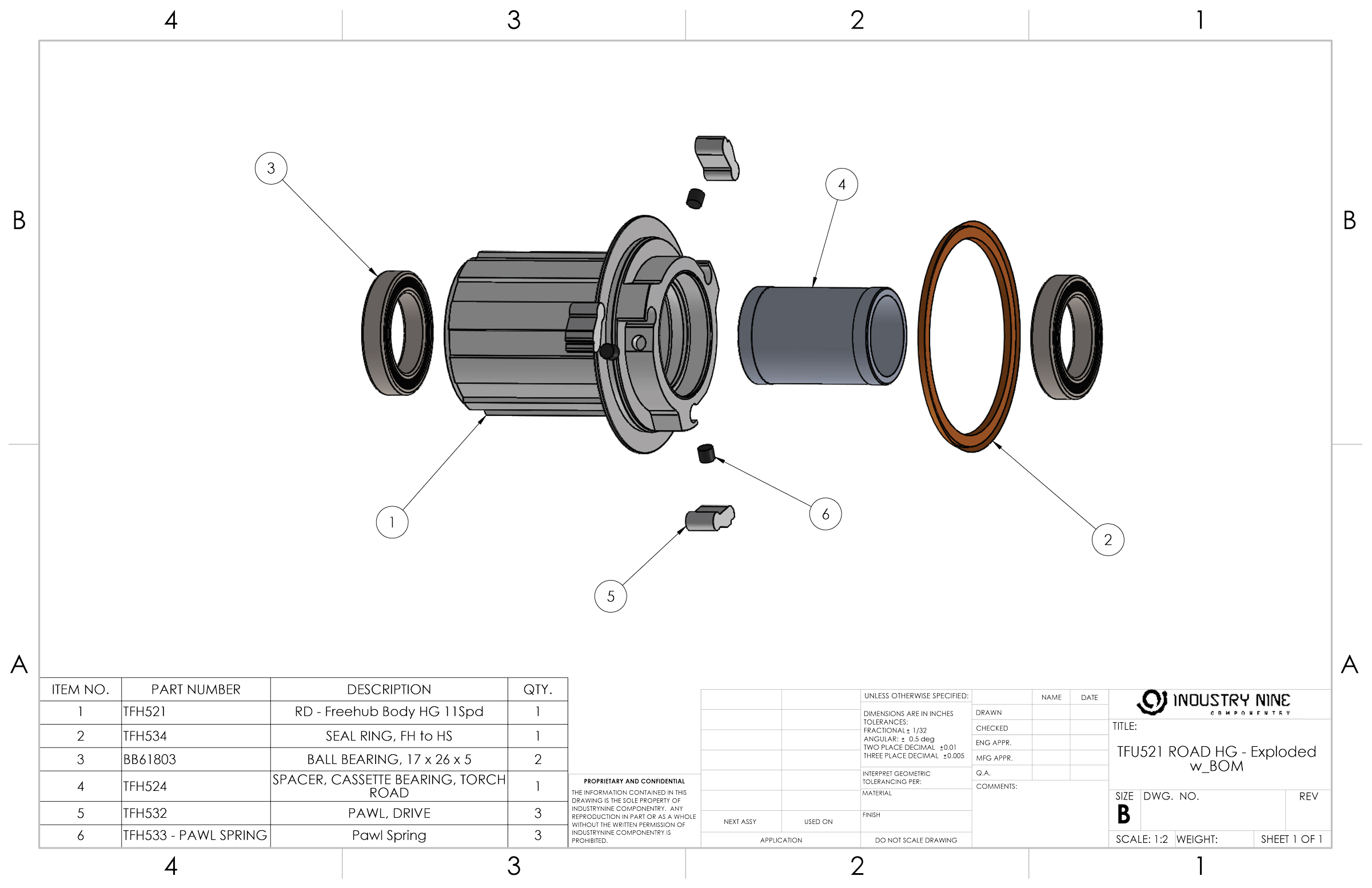 Bicycle Rear Hub Exploded View : Industrynine support